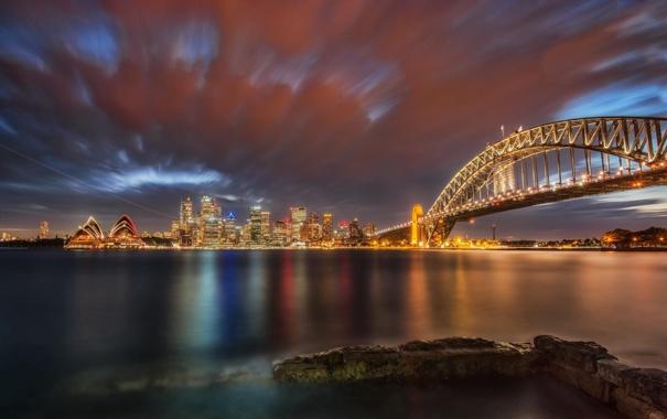 Фото обои ночь, мост, пролив, вечер, Сидней