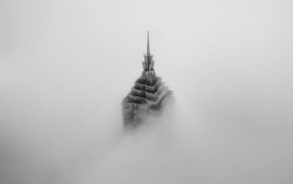 Фото обои туман, Китай, Шанхай, Jin Mao Tower