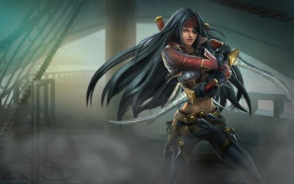 Фото обои повязка, ножи, девушка, кинжалы, league of legends, пиратка, туман