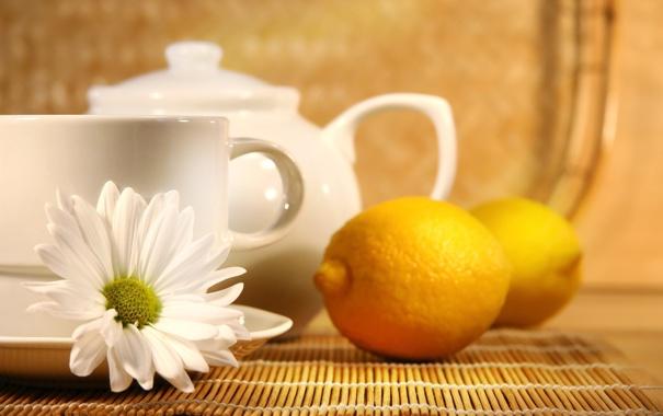 Фото обои лимон, чай, ромашка, чайник, чашка, lemon, tea
