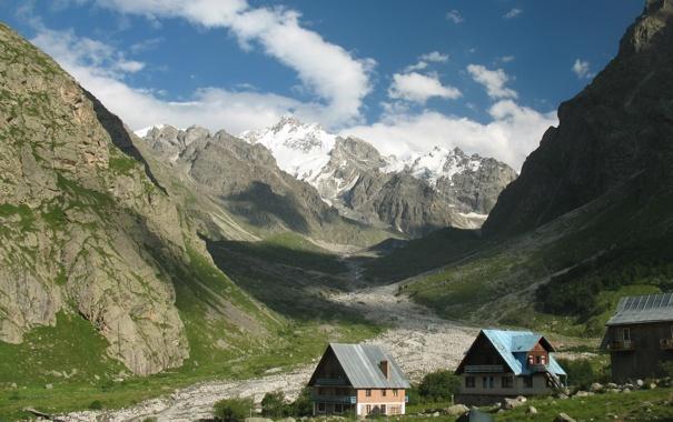 Фото обои пейзаж, горы, природа, домики, Россия, палатки, Kabardino-Balkaria