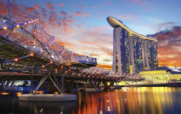 Фото обои вода, город, отражение, небоскребы, вечер, зарево, набережная