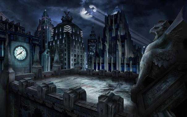 Фото обои крыша, ночь, здания, Batman, Гаргулья, Gotham City