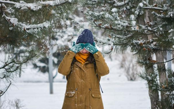 Фото обои зима, лес, девушка, снег, деревья, шапка, куртка