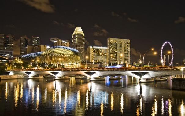 Фото обои атракцыон., singapur, река, ночь, отель, город, сингапур