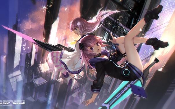 Фото обои оружие, девушки, меч, аниме, арт, swd3e2, choujigen game neptune