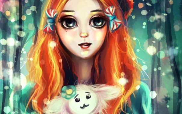 Фото обои глаза, лицо, игрушка, арт, девочка, бантики