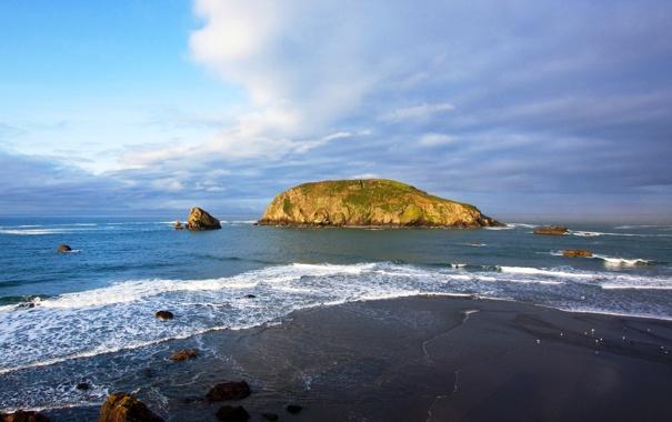 Фото обои небо, океан, остров