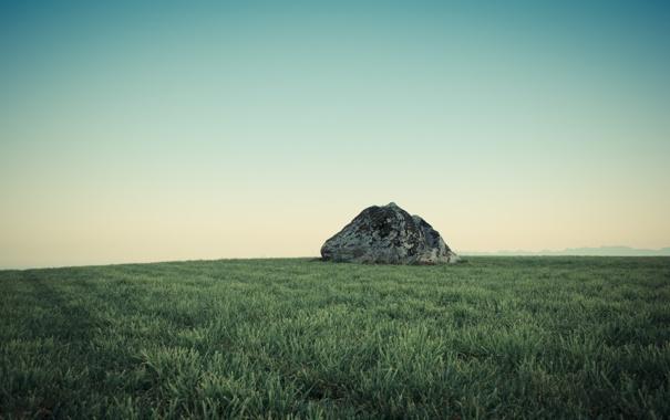 Фото обои зелень, небо, трава, пейзаж, природа, камень, grass