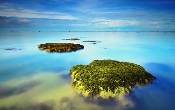 Фото обои море, небо, облака, камни, горизонт, слизь