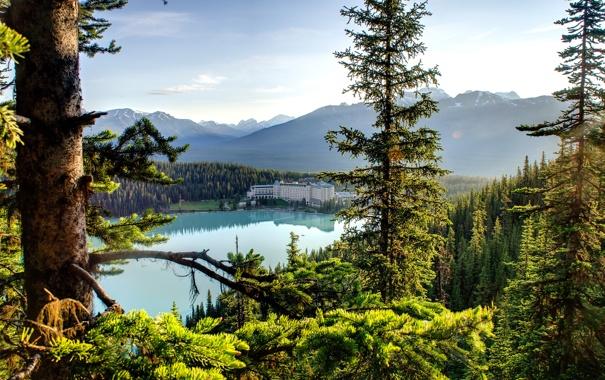 Фото обои лес, небо, деревья, горы, природа, озеро, дом