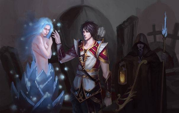 Фото обои взгляд, девушка, оружие, магия, лук, фонарь, посох