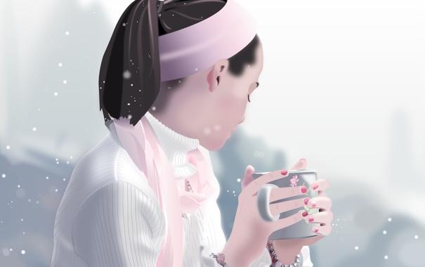 Фото обои зима, девушка, снег, настроение, вектор, руки, кружка