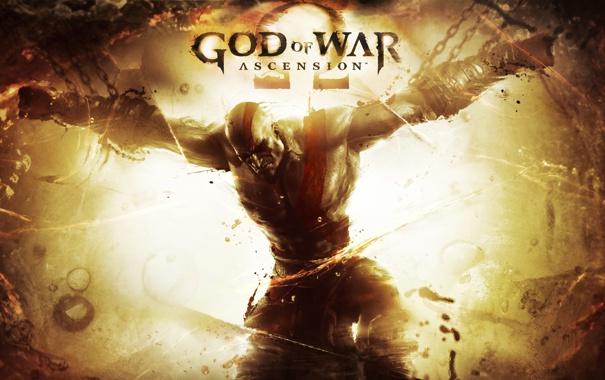 Фото обои боль, цепи, Kratos, Кратос, PS3, шрамы, прикован