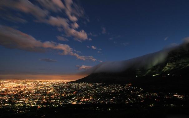 Фото обои небо, облака, свет, ночь, огни, гора, Лас-Вегас