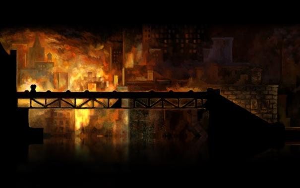 Фото обои ночь, мост, пожар, здания, Braid