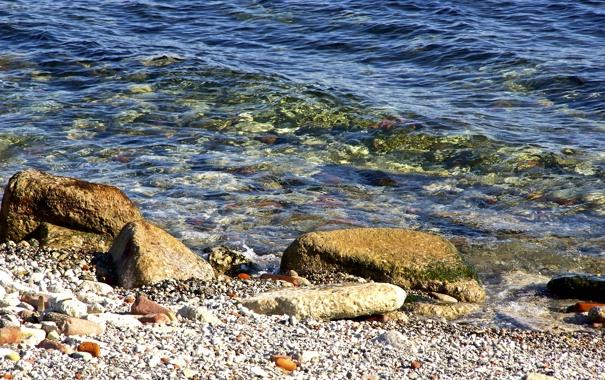 Фото обои волны, отражение, река, камни, берег