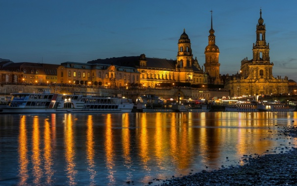 Фото обои вода, свет, мост, город, огни, отражение, река