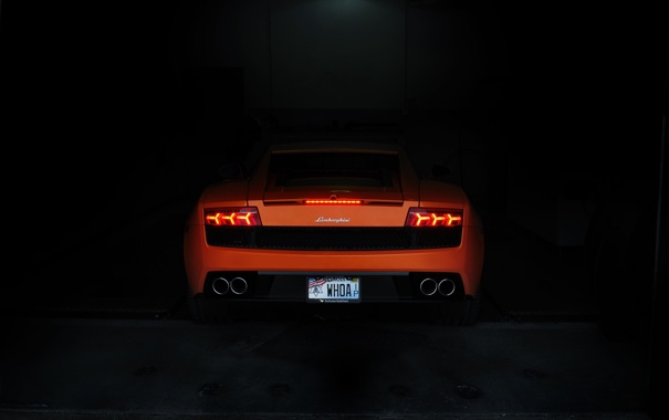 Фото обои темнота, галлардо, оранжевый, вид сазди, orange.ламборгини, lamborghini, gallardo