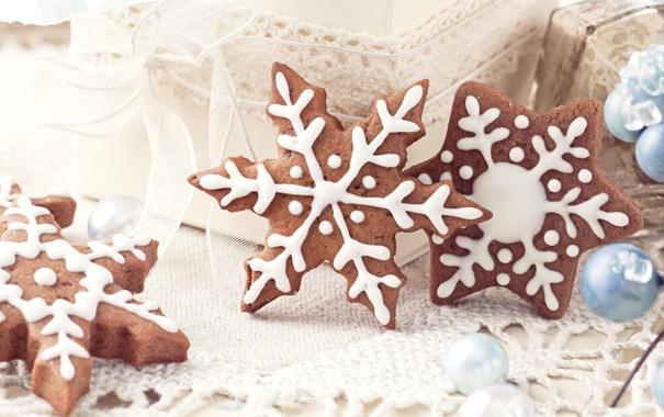 Фото обои снежинки, печенье, сладости, Christmas, десерт, выпечка, праздники