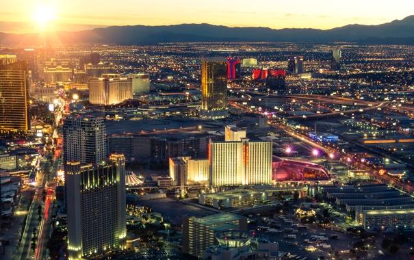 Фото обои огни, восход, дома, Лас-Вегас, панорама, США, мегаполис