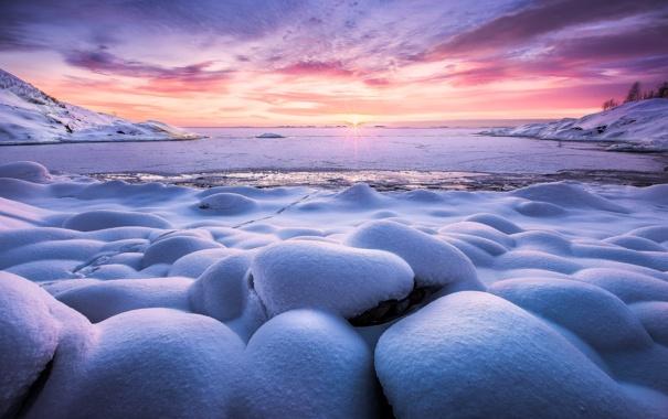 Фото обои зима, солнце, снег, природа
