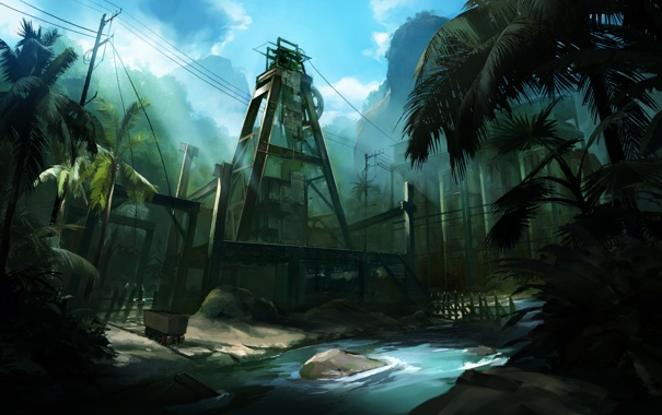 Фото обои пальмы, завод, джунгли, вышка, Lost Planet 2