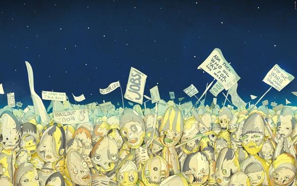 Фото обои небо, звезды, мертвецы, Matei Apostolescu, плакаты, Dead, бунт