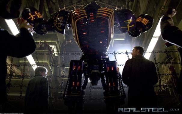 Фото обои Роботы, Хью Джекман, Бокс, Живая сталь, Нойзи Бой