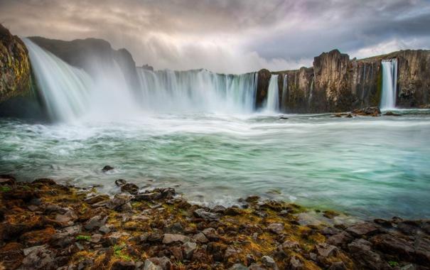 Фото обои река, скалы, водопад, Исландия, Iceland