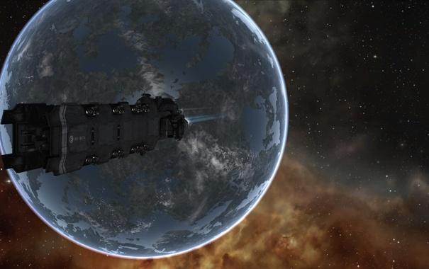 Фото обои звезды, планета, Космос, Корабль
