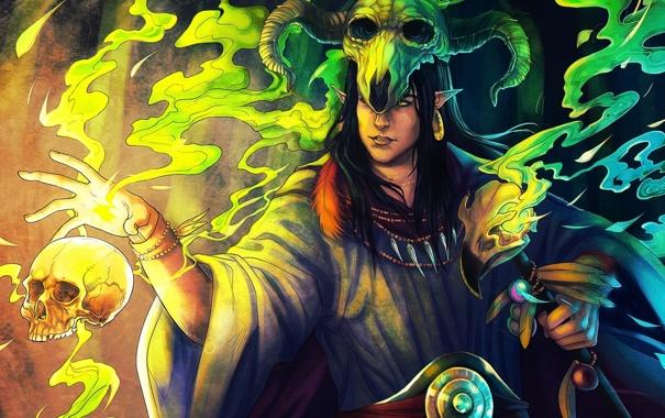 Фото обои магия, эльф, череп, арт, рога, посох, парень
