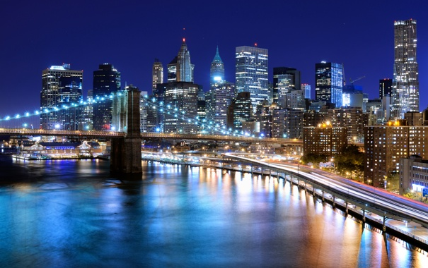 Фото обои вода, ночь, мост, природа, город, огни
