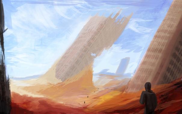 Фото обои sky, blue, people, sand, destroyed, buildings, Sci Fi