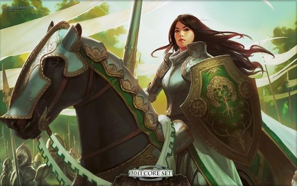 Фото обои девушка, конь, доспехи, копье, броня, рыцарь, Magic