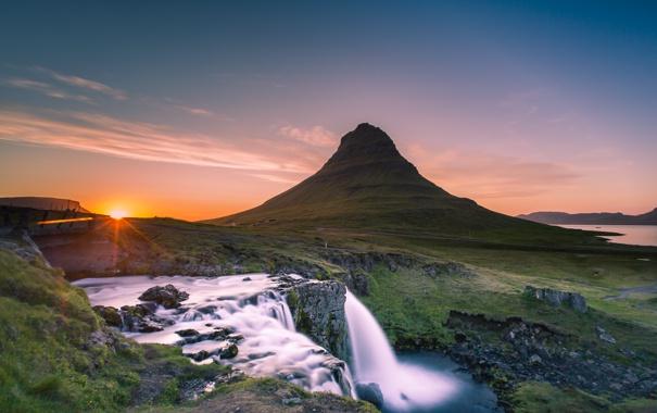 Фото обои гора, водопад, утро, Исландия, Iceland, Kirkjufel