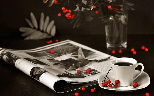 Фото обои ветки, ягоды, кофе, кружка, журнал