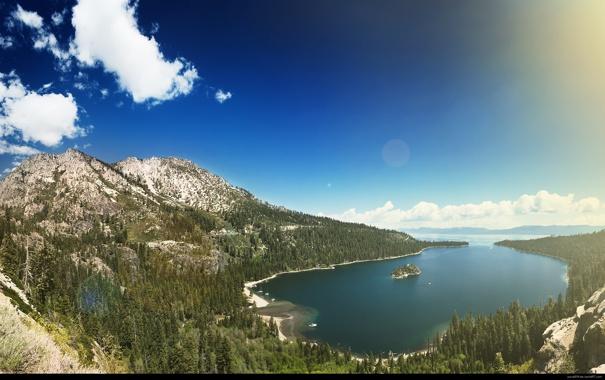 Фото обои лес, горы, вода, небо