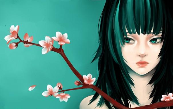 Фото обои девушка, цветы, лицо, фон, ветка, арт, персик