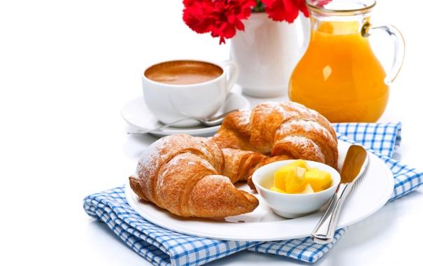 Фото обои цветы, кофе, еда, букет, завтрак, сок, чашка