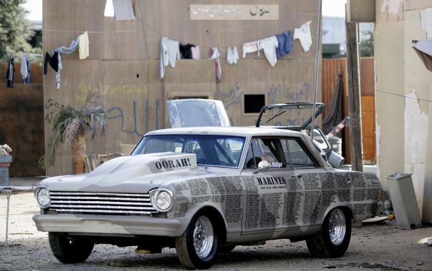 Фото обои машина, газета, на улице