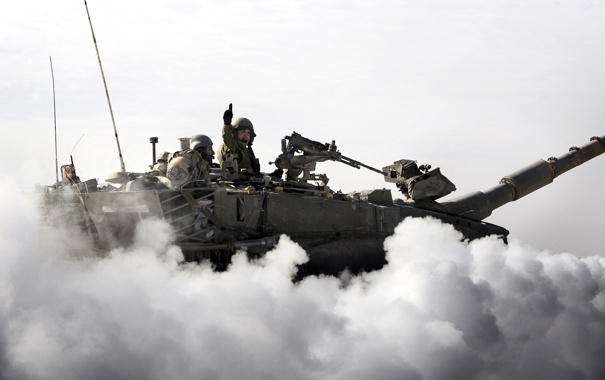 Фото обои оружие, дым, танк
