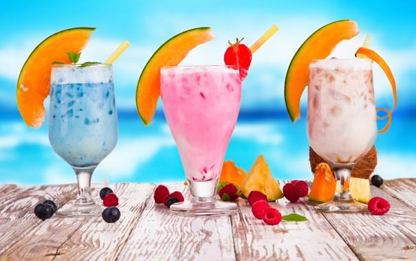 Фото обои лето, ягоды, малина, черника, бокалы, клубника, фрукты