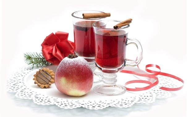 Фото обои яблоко, печенье, стаканы, напиток, корица, бант, салфетка