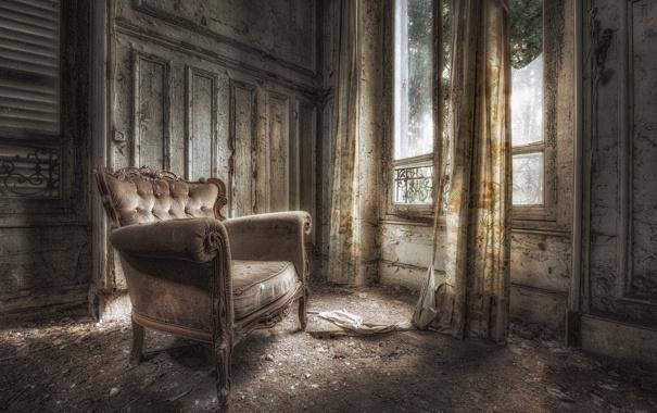 Фото обои комната, кресло, окно