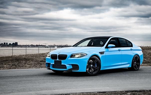 Фото обои BMW, Тюнинг, Бумер, БМВ, Голубой, Tuning, F10