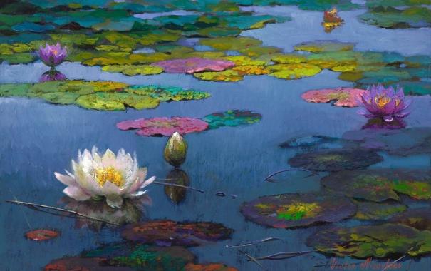Фото обои листья, вода, пейзаж, цветы, озеро, пруд, картина