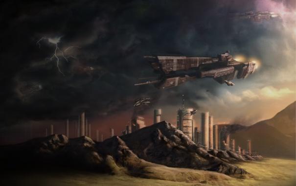Фото обои город, корабли, Defense of the City