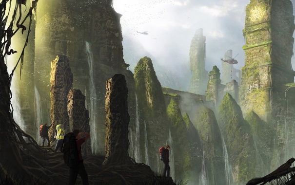 Фото обои водопад, вертолеты, джунгли, арт, храм, руины, путники