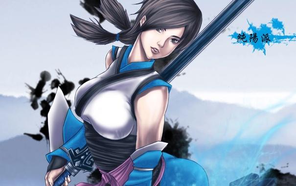 Фото обои девушка, поза, меч, арт, jx online